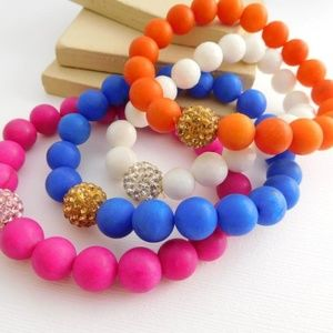 Jewelry - Retro Pink Blue White Orange Bead Bracelet Set